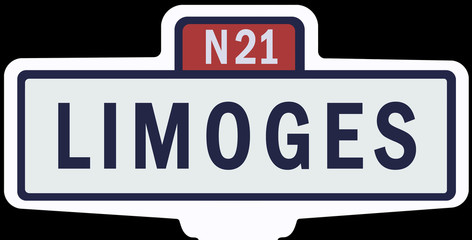 LIMOGES - Ancien panneau entrée d'agglomération