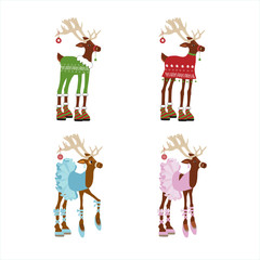 Set in cartoon style  cutes deer, isolated on white background. Flat style of icons for presents, invitation, children room, nursery decor, t-shirt, banner, interior design.
