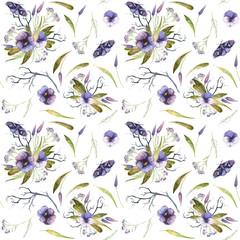 Watercolor Halloween pattern of purple flowers and butterflies