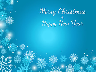 Blue winter snowflake background with vector snowflakes and stars. Christmas or New Year banner template