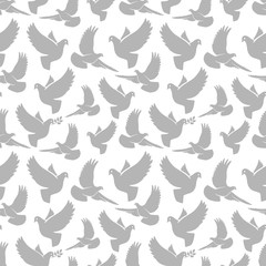 Dove silhouettes seamless pattern. Pigeon birds vector texture
