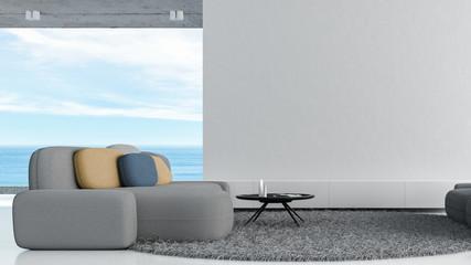 Modern loft living room white concrete wall 3d rendering sea view