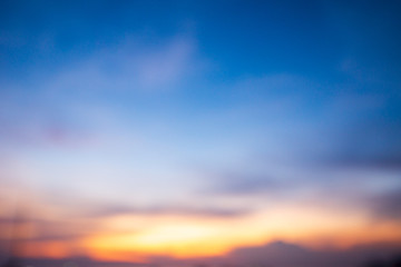 blur image for background of sunset sky