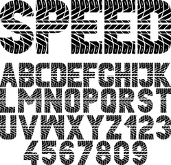"font with tire tread texture and word ""speed"""