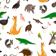 Australia animals colorful pattern on white background, vector illustration