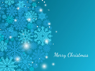 Blue christmas background with snowflakes and shiny stars, vector illustration