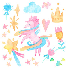 cartoon watercolor illustration. baby cute set. template for fantasy, children's invitations. unicorns, stars, magic, heart, cloud. isolated on white background