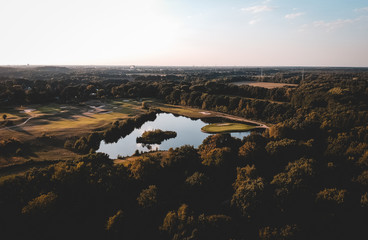 view from above of a forest golf park