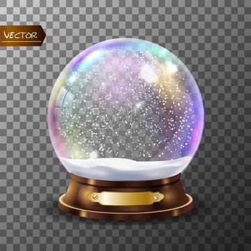 3d Classic Snow Globe Vector.Glass Sphere With Glares And Gighlights. Isolated On Transparent Background Illustration