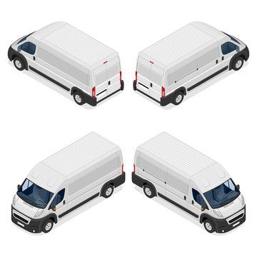 Commercial white van icons set isolated on a white background. Flat 3d vector isometric illustration.