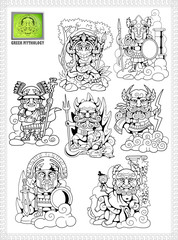 cartoon, ancient greek gods, set of funny vector illustrations