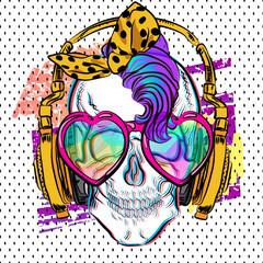 Cool skull print. Punk t-shirt for girl. Skull with mohawk.