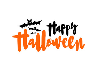 Happy Halloween vector lettering. Holiday calligraphy with bat for banner, poster, greeting card, invitation.