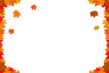 Autumn background with multi-colored autumn leaves. White background.