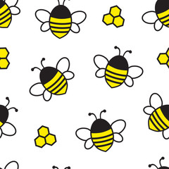 Seamless pattern with cartoon flying bee and honeycomb isolated on white background. Vector illustration