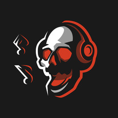 Skull in headphones sings songs. Logo emblem for design of posters, prints, stickers. Musical rock festival. Mascot design for the team. Vector DJ illustration