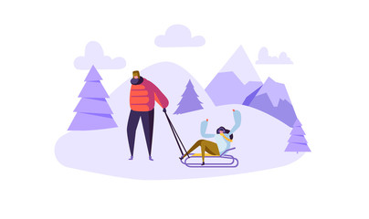 Happy Couple Characters on Winter Activities. Man and Woman Sledding on Snow Mountains. Flat People on Winter Vacation. Vector illustration