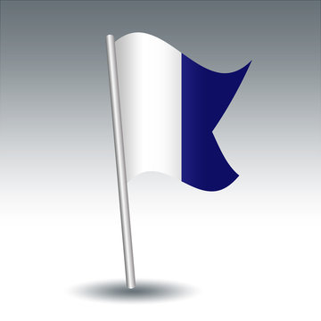vector waving maritime signal flag A alfa on slanted metal silver pole - symbol of I have a diver down, keep well clear at slow speed - blue and white color