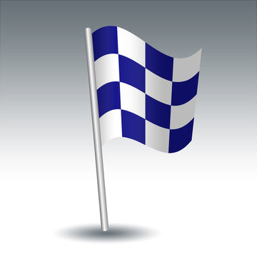 vector waving maritime signal flag N November on slanted metal silver pole - symbol of Negative - blue and white color