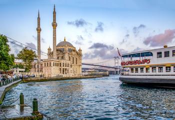 Ortakoy mosque and Bosphorus bridge, Istanbul, Turkey