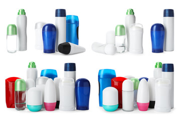 Set with different deodorants on white background