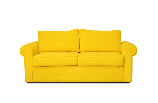 Comfortable sofa on white background. Furniture for modern room interior