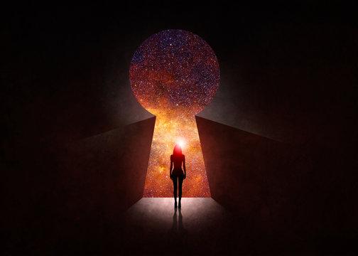 Woman in front of open door with universe behind
