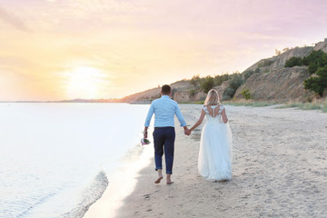 Wedding couple. Bride and groom walking on beach
