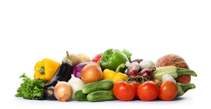 Heap of fresh ripe vegetables on white background. Organic food