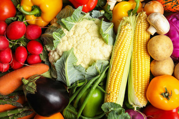 Assortment of fresh colorful vegetables, closeup. Healthy food
