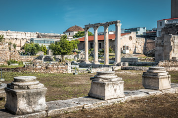 Panorama of the Library of Hadrian, Athens, Greece