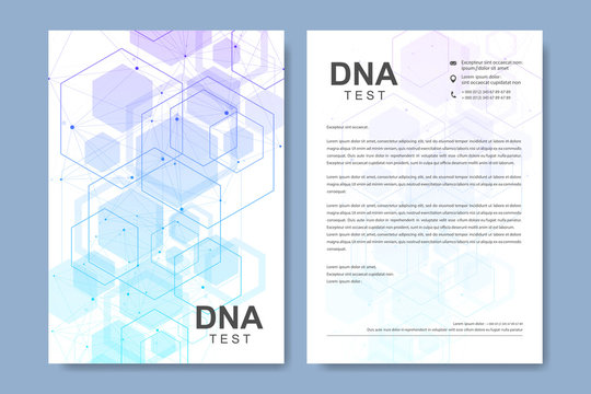 Business vector templates for brochure, cover, banner, flyer, annual report, leaflet. Abstract composition with molecule structure, dots, lines. Wave flow. Science, medicine, technology background