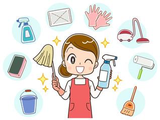 掃除 主婦のイラスト