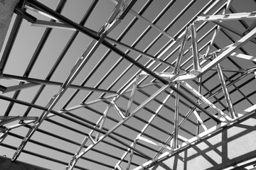 Structure of steel roof frame.
