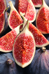 Fresh ripe fig slices, closeup. Tropical fruit