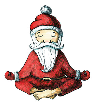 Cartoon Santa Claus in one of the poses of yoga. Painted markers isolated on white background. Postcard for Christmas and New Year
