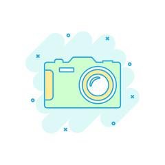 Cartoon colored photo camera icon in comic style. Photographer cam illustration pictogram. Camera sign splash business concept.