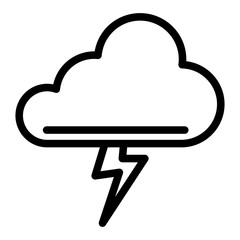 Cloud and thunderstorm line icon. Lightning bolt in cloud vector illustration isolated on white. Storm outline style design, designed for web and app. Eps 10.
