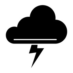 Cloud and thunderstorm solid icon. Lightning bolt in cloud vector illustration isolated on white. Storm glyph style design, designed for web and app. Eps 10.