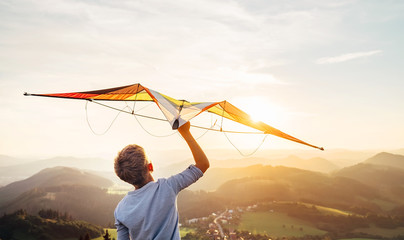 Boy takes a kite over his head. Dreams about flying