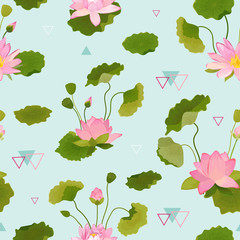 Seamless Pattern with Lotus Flowers and Leaves, Retro Tropical Floral Background for Fashion Print, Birthday Decoration Wallpaper. Vector Illustration