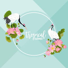 Crane Birds, Lotus Flowers and Leaves Summer Banner, Tropical Graphic Background, Exotic Floral Invitation, Flyer or Card. Modern Front Page in Vector