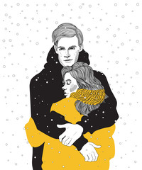 illustration cute young couple in bright down jackets hugs under a snowfall, a meeting, warming hugs