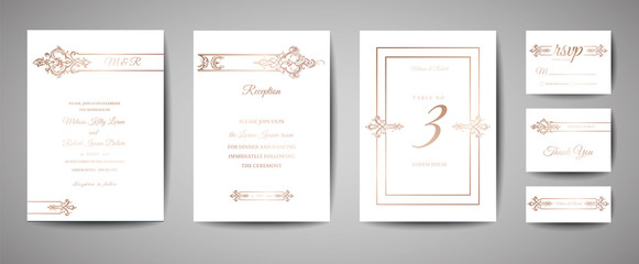 Luxury Vintage Wedding Save the Date, Invitation Cards Collection with Gold Foil Frame and Wreath. Vector trendy cover, graphic poster, retro brochure, design template