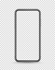 Modern smartphone vector mockup. Vector object isolated on transparent background