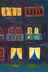 The windows of the city building in the evening. Cozy warm light. Oil painting