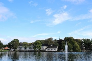 Breiavatnet is a central park and lake with a fountain in Stavanger, Norway