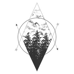 forest, sky, arrows and geometric elements