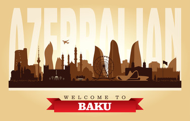 Baku Azerbaijan city skyline vector silhouette