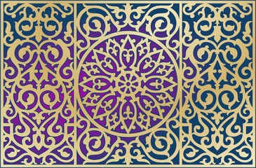 ORNAMENT ON THE BACKGROUND. GOLDEN CONTOUR. TRANSITION OF COLORS. ISLAMIC, EASTERN, ARAB, PERSIAN, KAZAKH